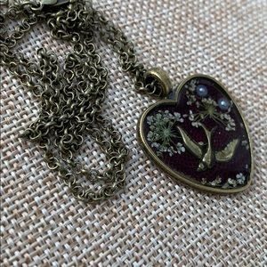 """Heart Resin Bird in Fight Necklace 24"""""""
